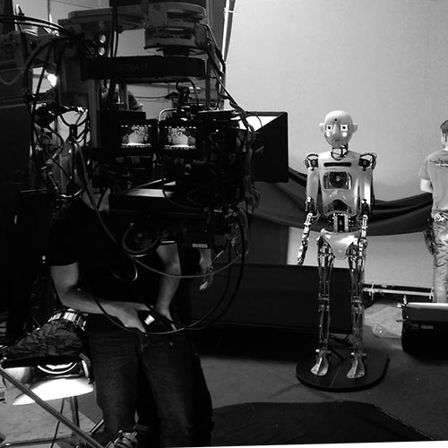 Robot Rental, RoboThespian poses infront of Camera For National Geographic