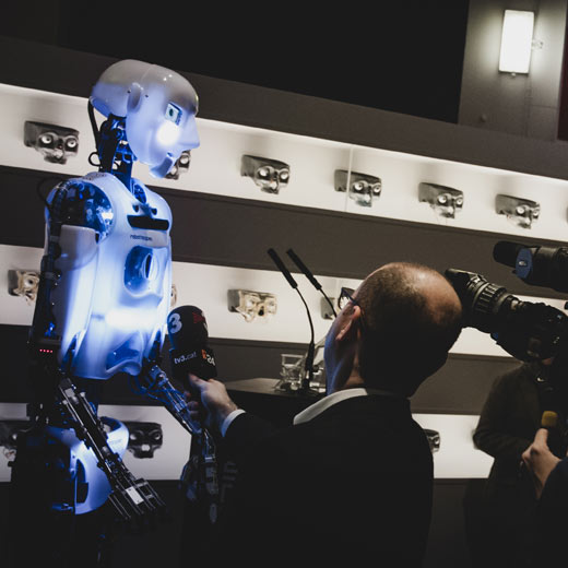 Robot Rental by Engineered Arts - RoboThespian Hired to Launch Exhibition