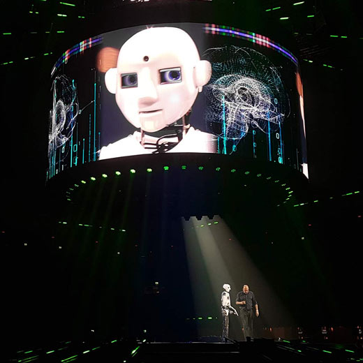 Robot Rental by Engineered Arts - RoboThespian Peforms with Andre Kuipers at SpacExperience Live at ZiggoDome